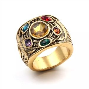 Men's Boutique Marvel Golden Thanos Jeweled Infinity Ring